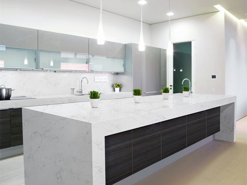 White Quartz Island Countertops for Kitchen Room