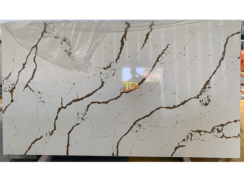 Gold Calacatta Quartz Slabs TQ-