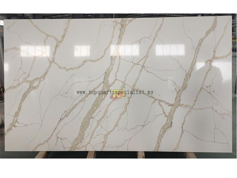 Quartz slab gold vein with whit