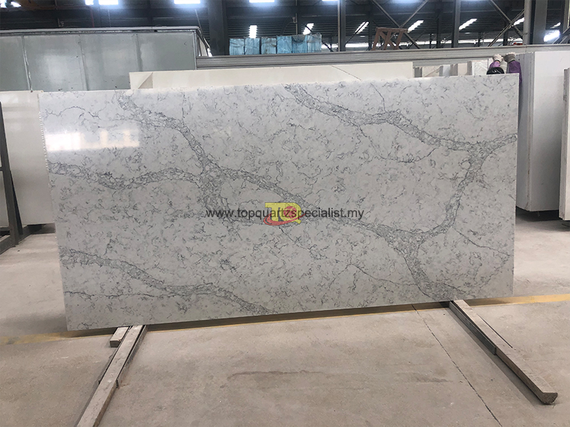 Polishing dense gray lines with white bottom quartz slabs E1006