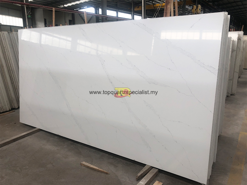 Curved vein white bottom quartz slabs countertops design E1002
