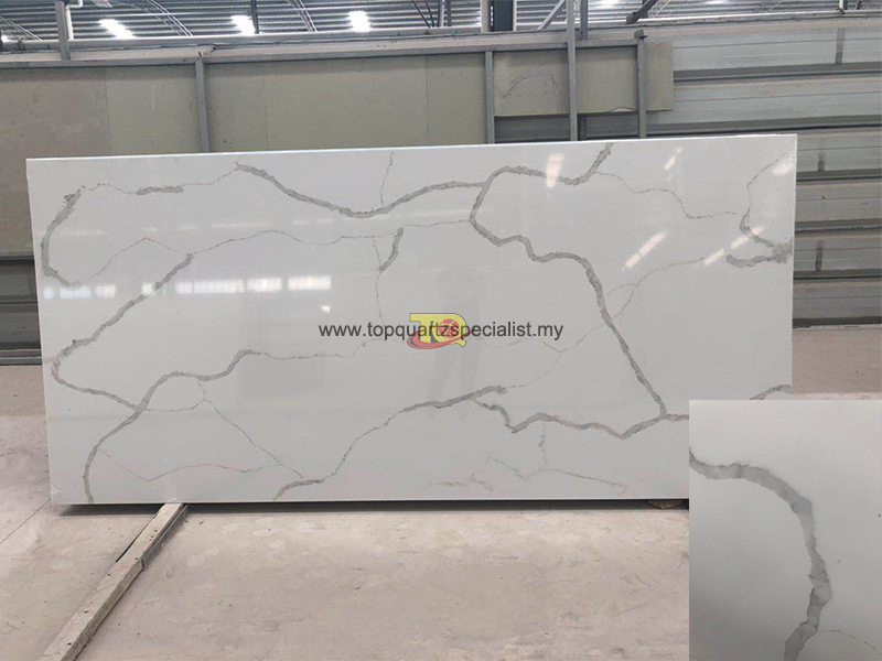 White calacatta quartz artificial stone tiles slabs E1001
