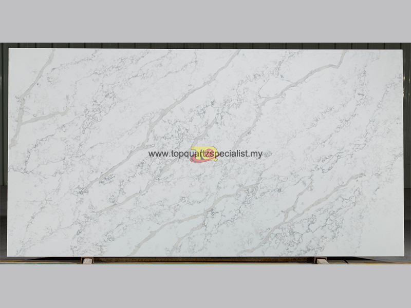 Quartz kitchen countertops with grey flower vein stone D2015