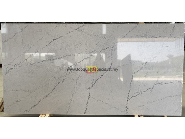 Best Grey quartz slabs Long vein poli