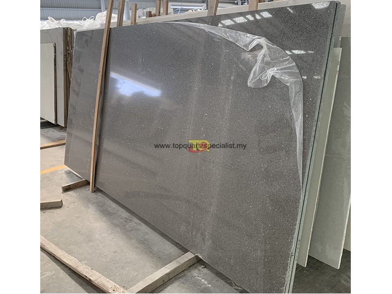 Gery crystal quartz vanity countertops material solid surface