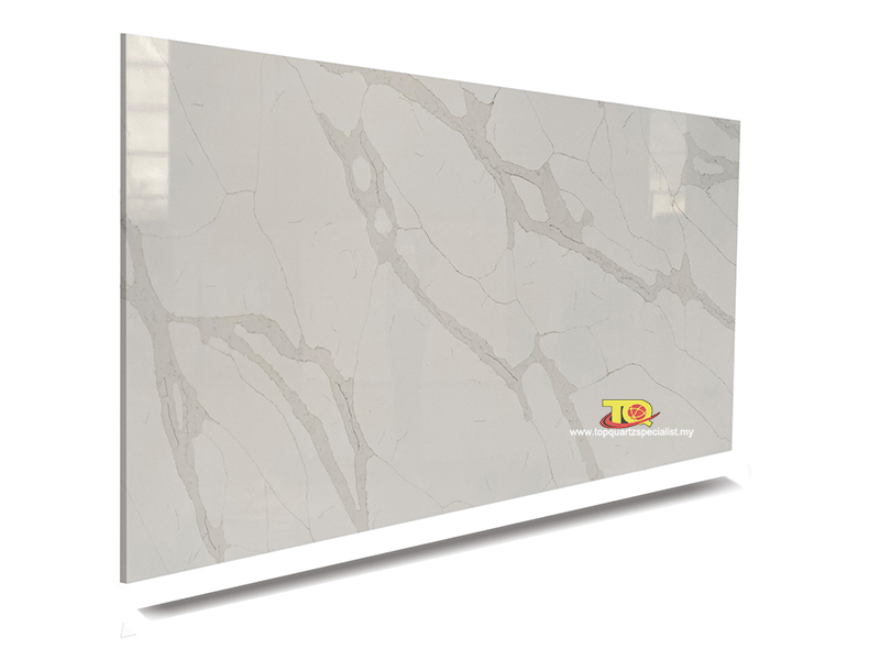 Artificial quartz tile calacatt