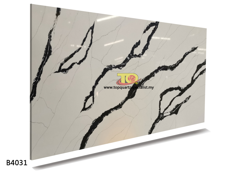 Quartz kitchen worktops panda white black artificial slab TQ-B4031