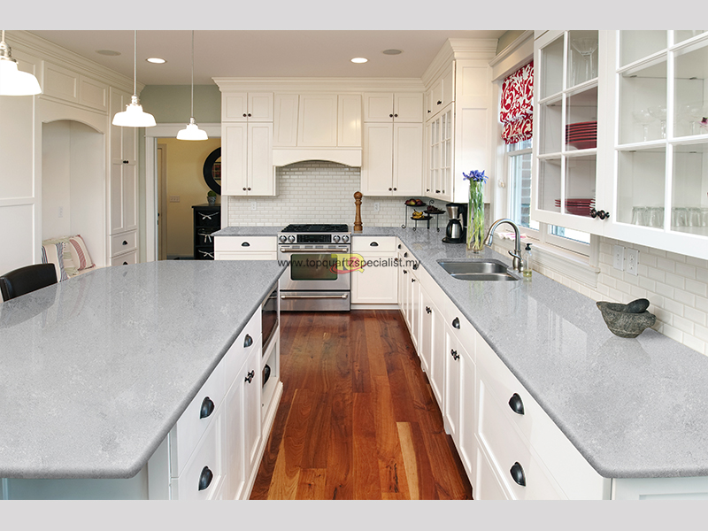 Grey Quartz Slabs Countertops D2005 For Kitchen Island Wholesale Malaysia Quartz Slab Countertop Factory Top Quartz Specialist