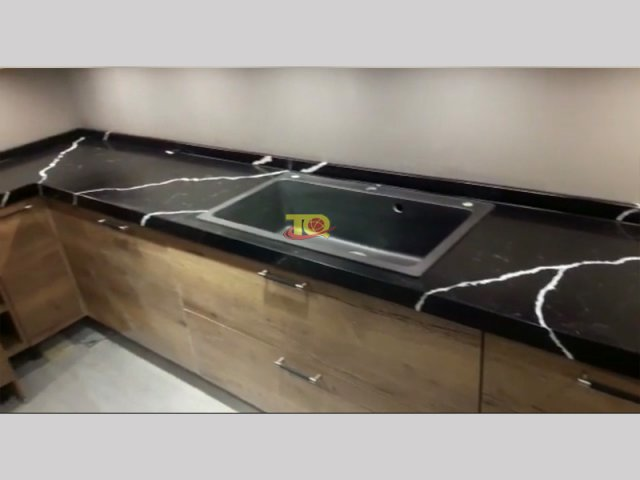 Hot sell Black Man Made Quartz Kitche